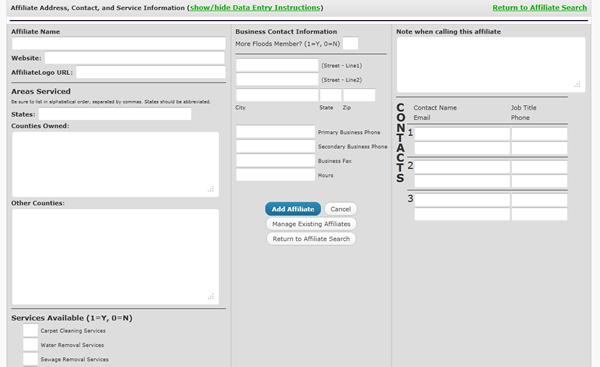 King Dry Water Damage- Affiliate Management Database