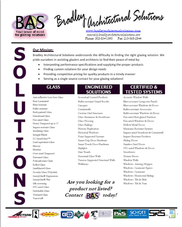 Bradley Architectural Solutions Flyer- Content Generation, Graphic Design