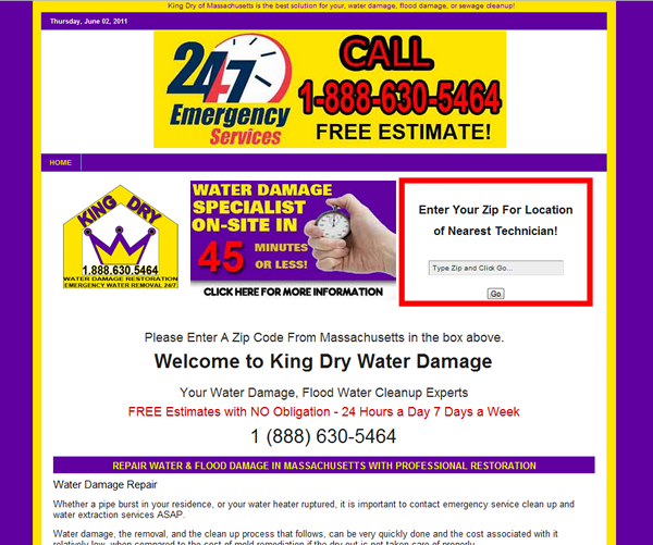 Flood Damage Cleanup Original Websites- Single Landing Page before The Crafty Canvas