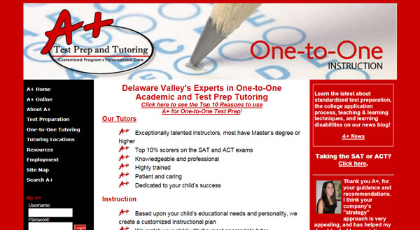 A+ Test Prep & Tutoring Website Management, Website Redesign, Search Engine Optimization & Marketing