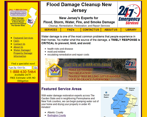 Flood Damage Cleanup Websites- Custom CSS Theme, Geotargeted Content