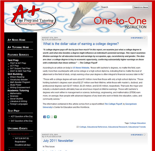 A+ Test Prep & Tutoring WordPress News Blog Redesign and Corporate Branding