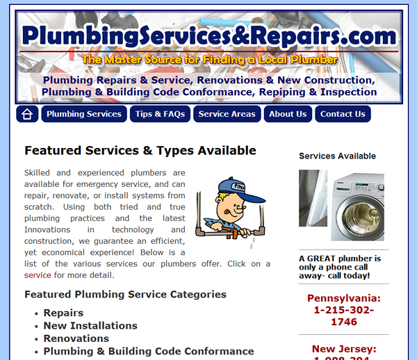 Plumbing Services & Repairs Website Development- Design, Launch, and Maintenance